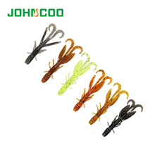 JOHNCOO 24pcs Soft Shrimp Fishing Lure 5.8cm 1.2g Soft Baits Fishing Worms Jig Wobbler Swivel Bait Practical Fishing Lures(China)