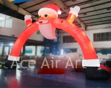Peculiar Inflatable Christmas Santa Claus Arch With LED lights For Store Entrance on Chirstmas Holiday