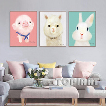 3 Piece Lovely Animal Canvas Art Prints Cute Rabbit Pig Alpaca Wall Painting Picture Set For Boy Girl Baby Room Decor No Frame