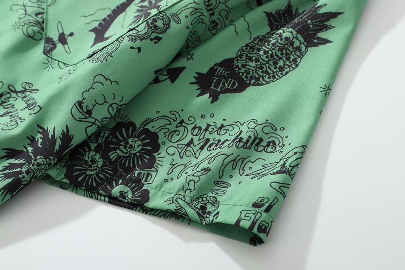 Graffiti Flamingo Palm Tree Pineapple Skull Print Shirts 5