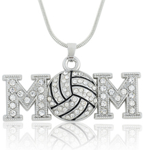 free shipping  5pcs zinc alloy rhodium plated crystal basketball/baseball/American Football/ volleyball/soccer mom necklaces