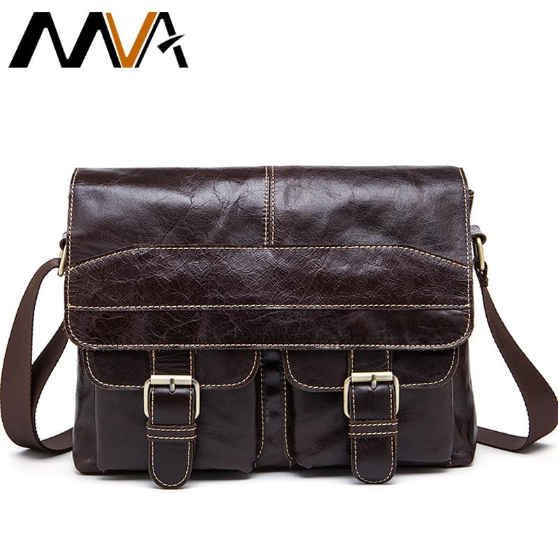 MVA Messenger Bag Men Leather Shoulder Bags Mens Crossbody Bags Small Business Briefcases Shoulder Genuine Leather Men Bag 9880<br>