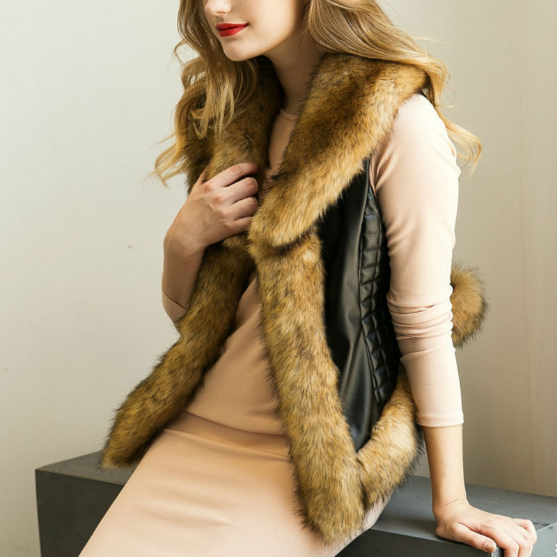 Winter Jacket Women Plus Size Fake Fox Raccoon Dog...