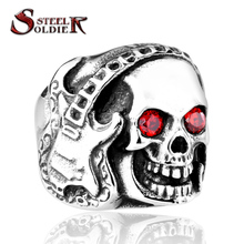 Steel soldier Rock Headsets Music Skull Ring WIth Red CZ Zircon Stainless Steel Punk Biker MC Man's Ring BR8-074