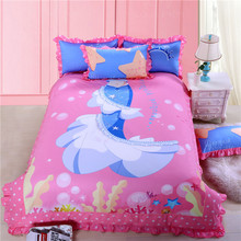Mermaid Ariel Princess bedding set pink cartoon girl bed sets 100% cotton twin/queen size duvet cover/sheet/pillow case(China)