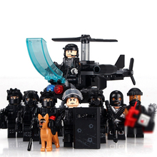 legoinglys military 8pz City Police SWAT Team Army soldiers With Air Weapons Helicopter WW2 Building Blocks Toys for children(China)