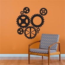 YINGKAI Steampunk Industrial Gears Collection Living Room Vinyl Carving Wall Decal Sticker for Home Window Decoration