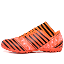 MAULTBY Men's Black / Orange High Ankle TF Turf Sole Outdoor Cleats Football Boots Shoes Soccer Cleats #STF31705O