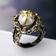 Black with Gold-color Shine Unique Fashion rings High quality Stunning Zircon jewelry Purple stone Hot Sell Imitation Pearl Ring(Hong Kong)