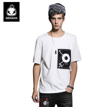 GENANX brand original designer clothing personalized knot decorated summer cotton casual printing t shirt male Size M-XXL
