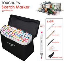 TOUCHNEW 80 Color Graphic Marker Pen Set Sketch Touch Art Markers Double Headed Art Pen Painting Supplies With 5 Gifts