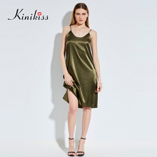 Buy Kinikiss Satin Party Club Dress 2017 O-Neck Women Summer Dresses Backless Sexy Bodycon Strap Ruched Ladies Midi Slip Dress 11.11 for $13.67 in AliExpress store