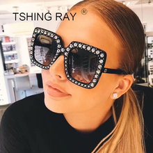 TSHING Fashion Rhinestone Inlay Oversized Square Sunglasses Women Elegant Brand Designer Big Mirror Sun Glasses For Female UV400(China)