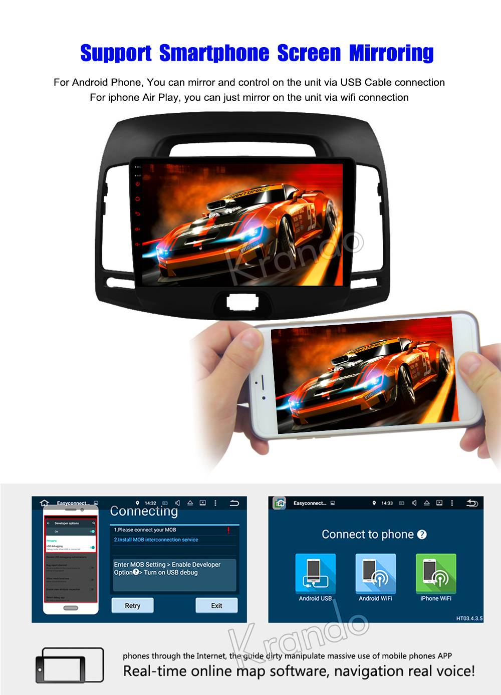 Krando Android car radio gps navigation multimedia system for Hyundai Elantra 2007-2011 9