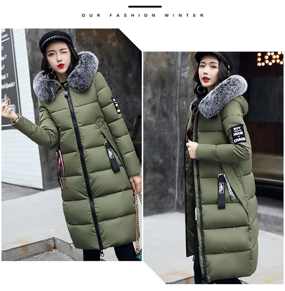 WMSWJH Fashion Women's Jacket Winter New Large Fur Collar Mid Long Section Slim Hooded Thicken Down Feather Cotton Coat WS135