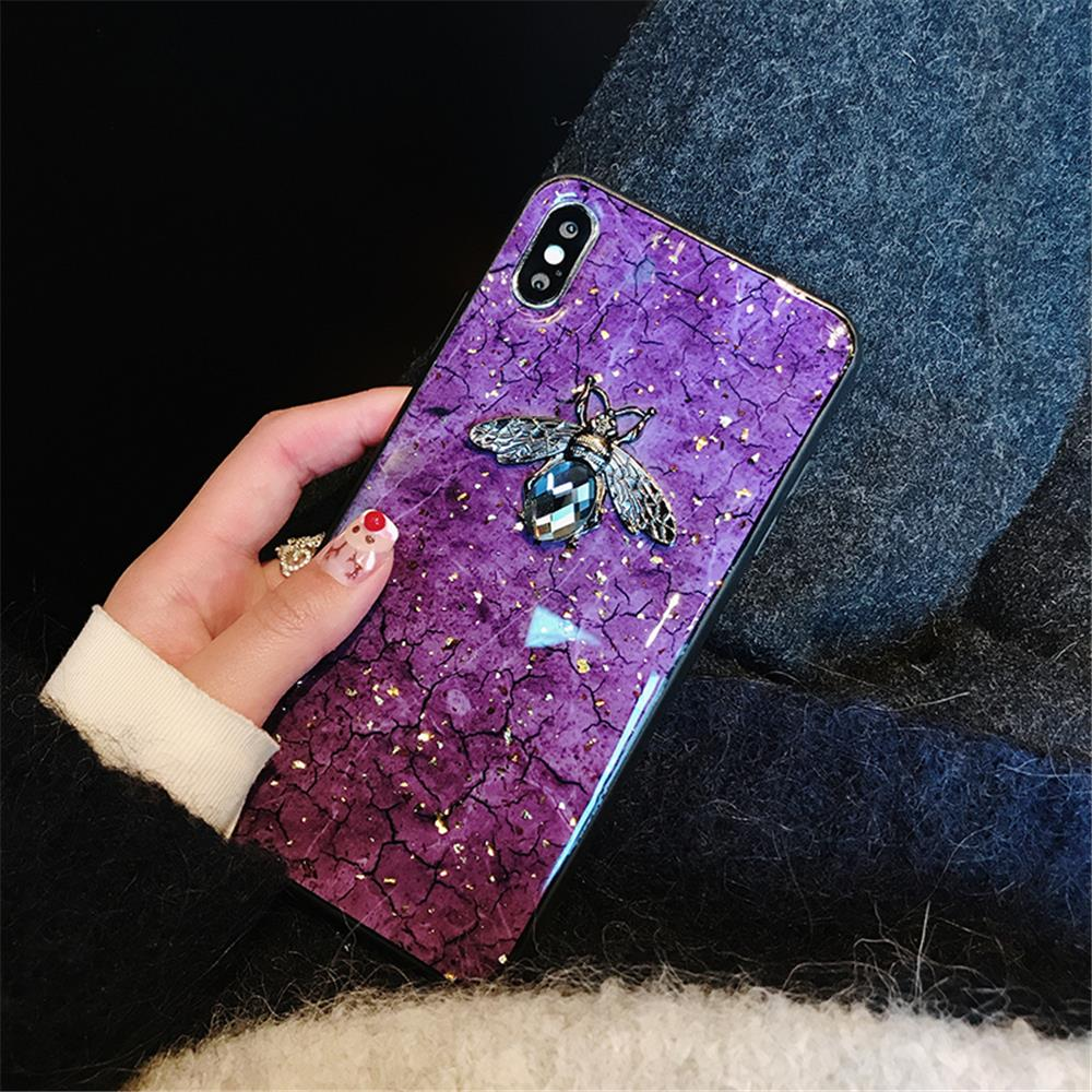 Luxury Green Diamond Crack Marble Phone Case For iphone 7 8 6 6s Plus Bee With Wing Funda cover for iphone XS MAX XR X back   (9)