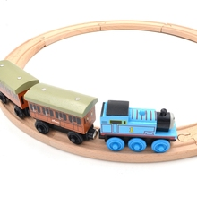 Beech Wood Thomas Train Annie and Clarabel Circle Track Railway Vehicle Playset Accessories Toys,1 SET =Track+Locomotive+Tender