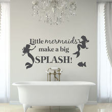 Beautiful Mermaid Wall Stickers For Kids Room Girls Home Bathroom Vinyl Wall Decal Quote Little Mermaids Make A Big SplashSYY640