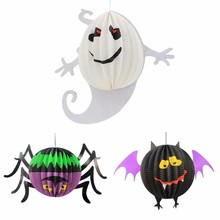 Halloween Paper Lanterns Spiders Bat Ghost Shape Hanging Ornaments Party Scene Layout Cosplay Decoration DIY Craft