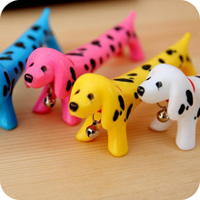30 Pcs/lot Creative Lifelike Dog Ball Point Pens Bell Ballpoint Creative Pens Cute Korea Stationery Student Pen Kids Gift 2017(China)