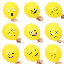 10pcs/set Emoji Balloons Smiley Face Expression Yellow Latex Balloons Party Wedding Ballon Cartoon Inflatable Balls(China)