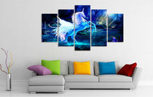5 pieces large HD printed oil painting unicorn horse forest blue canvas print home decor wall art pictures for living room F0256(China)