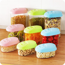 High Quality Hot Sale 0.5L/1.L/2L PP Food Cereal Rice Container Storage Store Box Kitchen Tool Pink/Blue/Green(China)