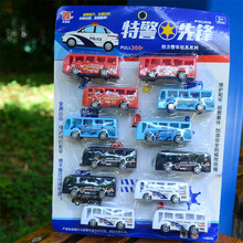 12Pcs/Lot Baby Toys Aircraft Bus Car Motorcycle Police Car Model Pull Back Car Model Set Kids Toys for Children Gifts 3 Types(China)