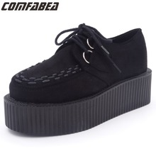 2017 Women Platform Shoes Ladies Lace Up Casual Shoes Flats Creepers Black Shoe For Ladies Harajuku Punk Shoe Creeper Girls