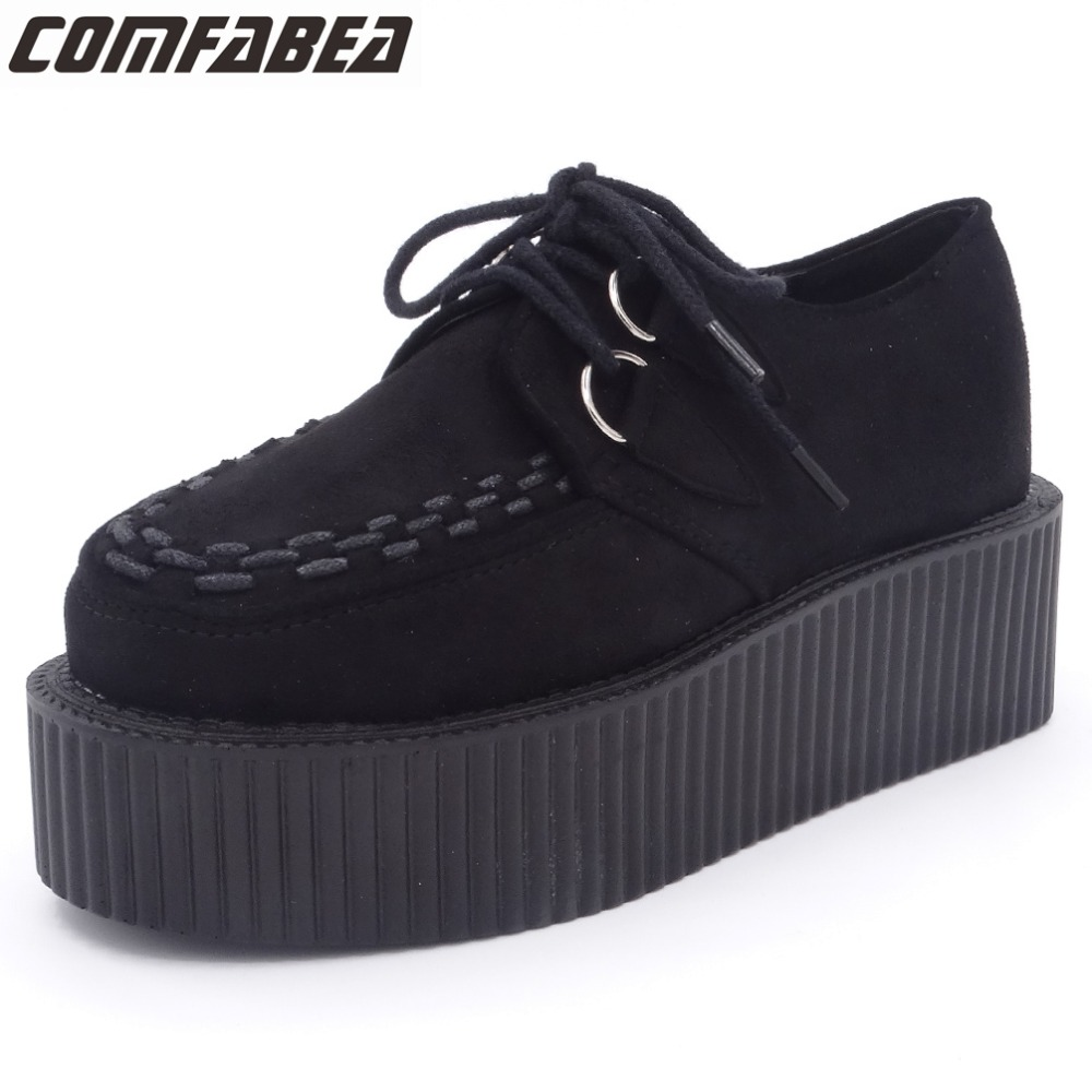 2018 Spring Autumn Shoes Women Platform Shoes Ladies Lace Up Casual Shoe Creepers Flats Harajuku Punk Shoe Creeper Girls Black<br>
