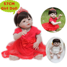Adorable NPK 57CM Full Silicone Baby Reborn Girl Doll Toys Alive Red Dressing Bebe Reborn Princes Kid Toys Birthday Gift Boneca(China)