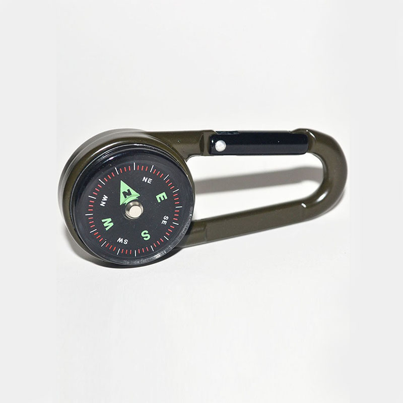 Multifunctional Mini Compass Thermometer Key chain Carabiner Clip Snap Hook Outdoor Camping Tool Hiking Goods Tourism Equipment (6)