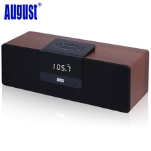 August SE50 30W Wood Bluetooth BoomBox Speaker with FM Radio Wireless Stereo NFC Laptop Speakers with EU / US Plug