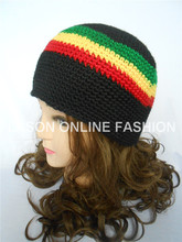 Jamaican Rasta Hat Tri-Color Knit Crocheted Tam Beanie Cap Adult Size Black/Red/Yellow/Green(China)