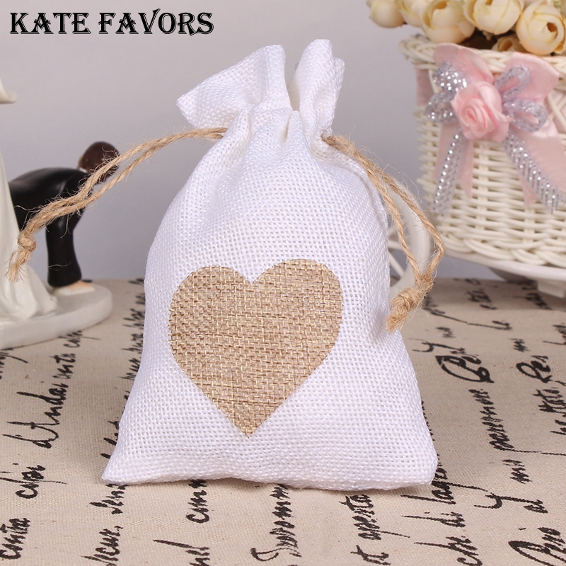 Natural Burlap Bags Jute Hessian Drawstring Sack Wedding Favor Gift Pouches Home Party Decoration Crafts Pack Festive Supplies title=
