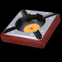 COHIBA Portable Wooden Toble Office & Home Use Brown Metal Cigar Ashtray Holder 4 Rests(China)