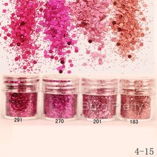 1Box Rose Red Shining Round Nail Glitter Powder Super Fine Powder Sheets Nail Tips Decoration Nail Art Set
