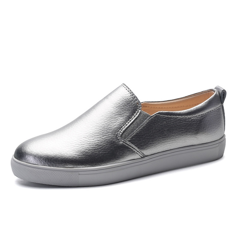 2016 Silver Loafers Cow Split Leather Platform Shoes Woman Creepers Slip On Flats High Quality Casual Women Flat Shoes XWD4508<br><br>Aliexpress