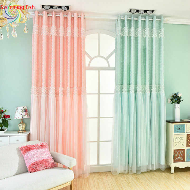 Lace finished curtains beautiful green/pink/purple stitching double layer curtains semi-shaded cloth+tulle living room curtains