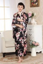 New Black Japanese Women Silk Satin Kimono Yukata With Obi Evening Dress Performance Dance Dress Floral One Size H0053(China)