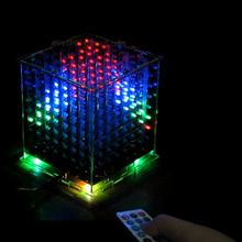 3D8 DIY multicolor LED mini light cubeeds With IR /3D  8 8x8x8 Kits/Junior,Christmas Gift led Music Spectrum electronic diy kit