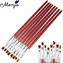 8Pcs/set Pro Nail Art Pen Brush Wooden Handle French Tips Smile Moon Shaped Acrylic UV Gel Polish Painting Drawing Manicure Tool