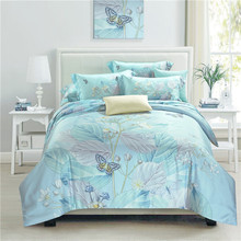 2017 new Spring summer fashion 100% natural Tencel silk flower leaf butterfly 4pcs bedding set comforter cover bedsheet set/3578