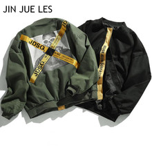 JIN JUE LES Europe and United States Tide Card Yellow Ribbon Canvas Jacket MA1 High Street Wind Lovers Work Suit Flight Jacket(China)