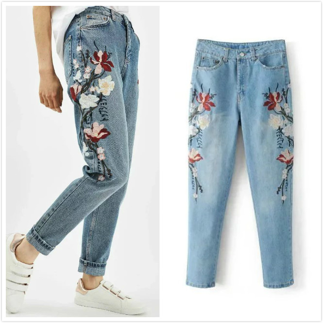 2017 Womens Fashion Floral Flower Embroidery Denim Trousers Quality Jeans Woman Femme Skinny Pants Vintage Slim Women JeansÎäåæäà è àêñåññóàðû<br><br>