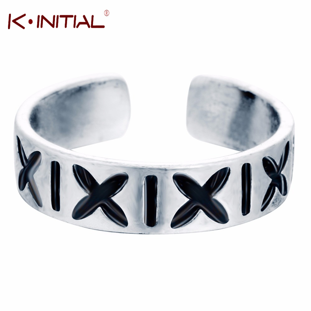trend retro 925 adjustable X letter ring