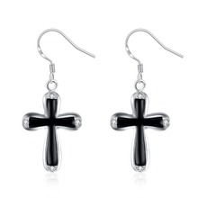 Hot Sale Free shipping Silver Black Cross Drop Earrings with Zircon Woman Fashion Party Jewelry Christmas Gift Drop ship(China)