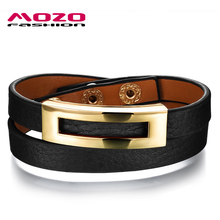 MOZO FASHION Women Trendy Jewelry Leather Rope Chain Bracelets Wrap Bracelet Woman Charm Wristband Many Colors to Choose MPH1005(China)