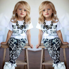Fashion Cool 2pcs Kids Girls I Woke Up Like This White Tops T-Shirt+Pants Set 2-9Years Oneck