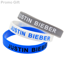 Promo Gift 50PCS/Lot BELIEVE - Justin Bieber Wristband Silicone Bracelet For Music Fans(China)